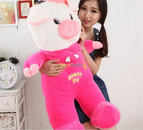 Fancytrader 35\'\' 90cm Jumbo Plush Super Lovely Stuffed Soft Pig, 2 Colors, Free Shipping FT50498 (1)