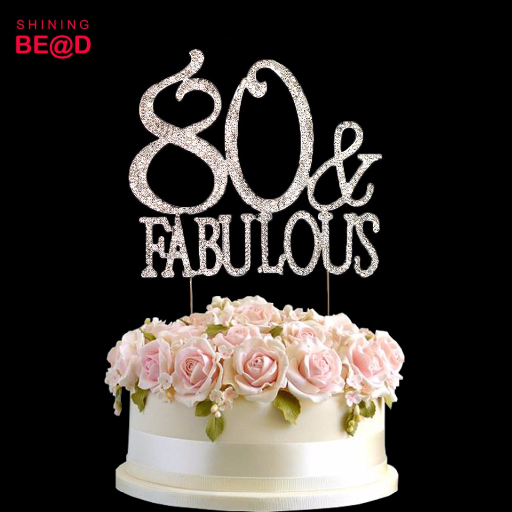 10 Pcs Lot 80 And Fabulous Cake Topper Birthday 80th Party Happy In Decorating Supplies From Home Garden