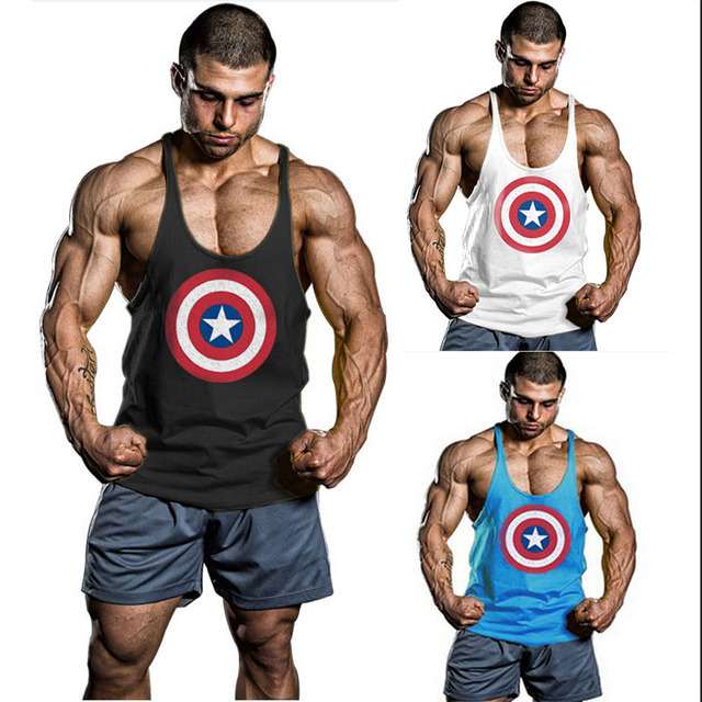 128f8cce23b12 Fashion Captain America Tank Top GYM Men Style Fitness Tops Stringer  Bodybuilding Singlet Muscles Sports Vest Sleeveless Shirt