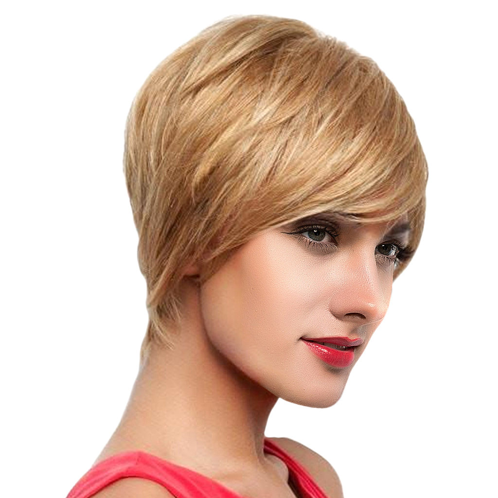 8 inch Short Straight Wigs Human Hair Pixie Cut Chic Wig for Women w/ Bangs Gold prevailing short straight capless human hair side bang women s siv wig