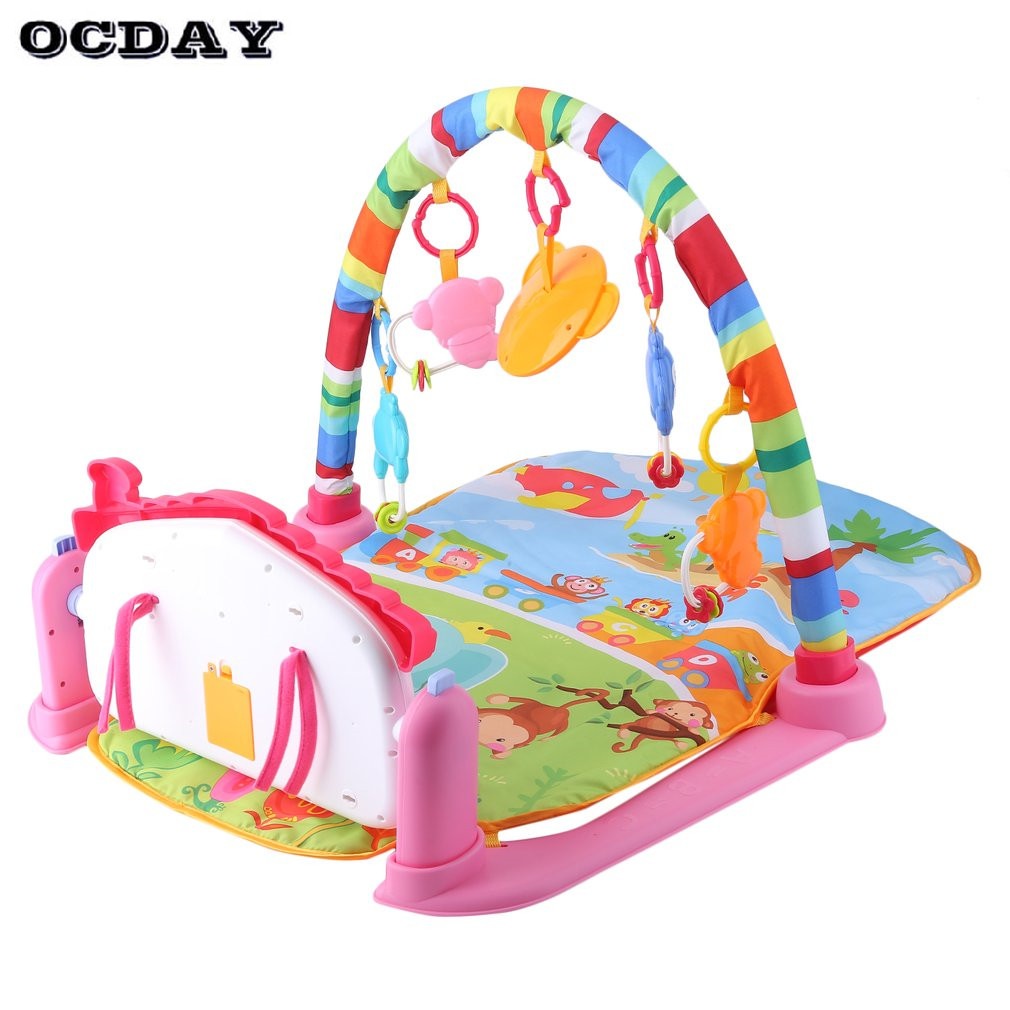 OCDAY 3 in 1 Baby Play Mat Rug Develop Crawling Kid's Music Mat with Keyboard Infant Fitness Carpet Educational Rack Pad Toys