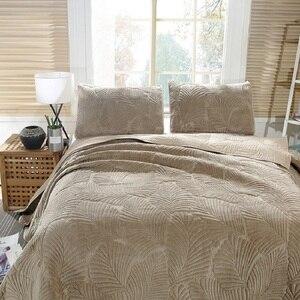 Image 2 - 3 חתיכה קטיפה כותנה שמיכת כיסוי המיטה סט אולטרה רך חם גדול מיטת כיסוי עלים דפוס יוקרה כיסוי המיטה כרית שמס