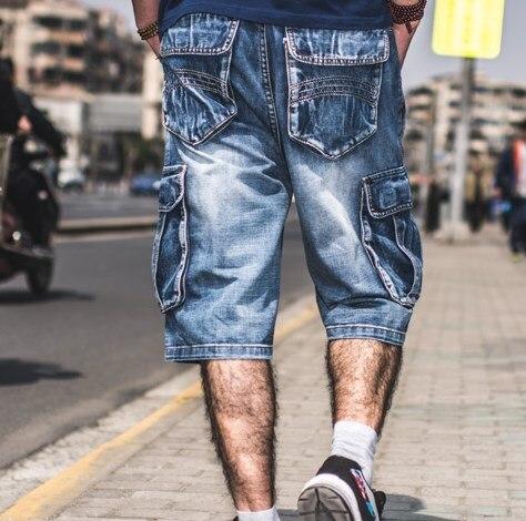 Plus Size Herren Denim Biker Baggy Cargo Blue Jeans Shorts für - Herrenbekleidung - Foto 3