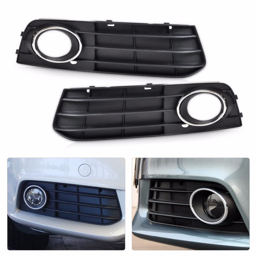 DWCX 8K0807681A 01C, 8K0807682A 01C Front Left + Right  Bumper Fog Lamp Cover Grille For Audi A4 B8 2008 2009 2010 2011 2012 car front bumper mesh grille around trim racing grills 2013 2016 for ford ecosport quality stainless steel