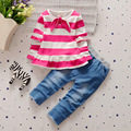 BibiCola new Spring Autumn children girls clothing sets stripe clothes bow tops t shirt jeans leggings pants baby kids  suit set