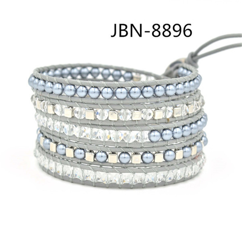 Fashion jewelry beads bracelets 4mm crystal beads and pearl beads on leather charm bracelet Christmas gift JBN-8896