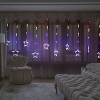 12 Piece Twinkling Stars LED Curtain Lights Christmas Fairy String Lights Window Display Christmas Day Ambient Lights