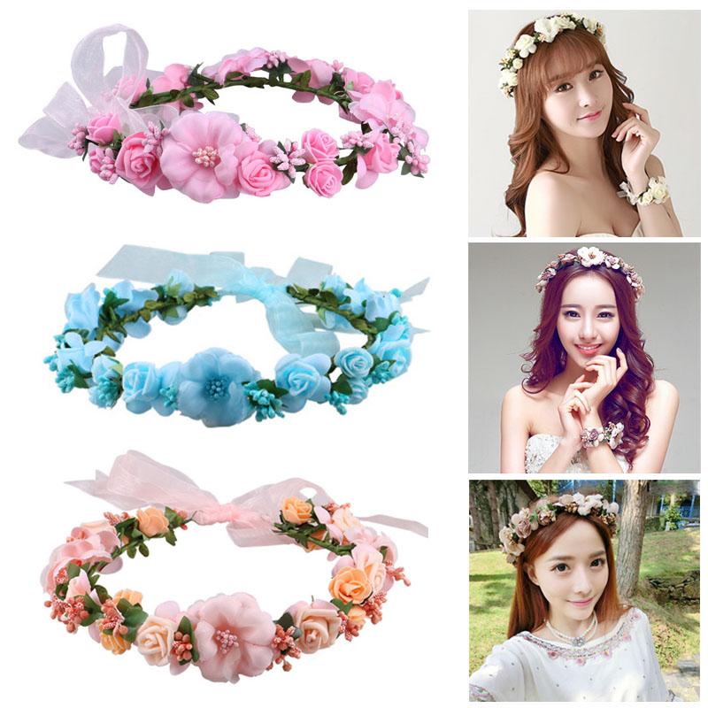 Beautiful Women Headband Floral Flowers Wedding Garland Hair Bands Handmade Lady Girls Hairband Hairs Accessories FS99