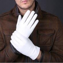 Кожаные перчатки из овчины, белые женские/мужские модели, эластичная тонкая кашемировая подкладка, комплекты повязок на руку, новинка