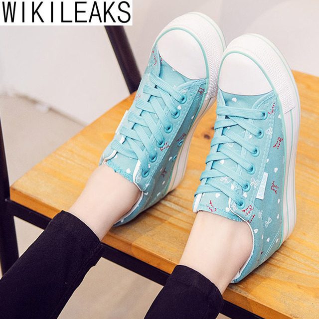 Wikileaks Hot Sale 2016 Women Casual Lace-Up Floral 6CM Height Increasing Canvas Shoes Woman Solid Breathable High Quality Shoes