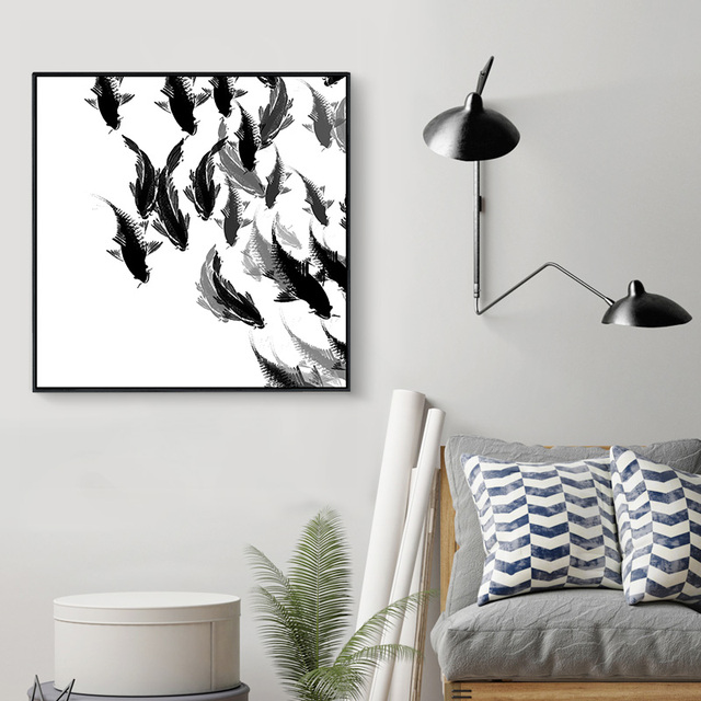 White Black Fish Oil Painting Lots Fish Photo Canvas Art Wall ...