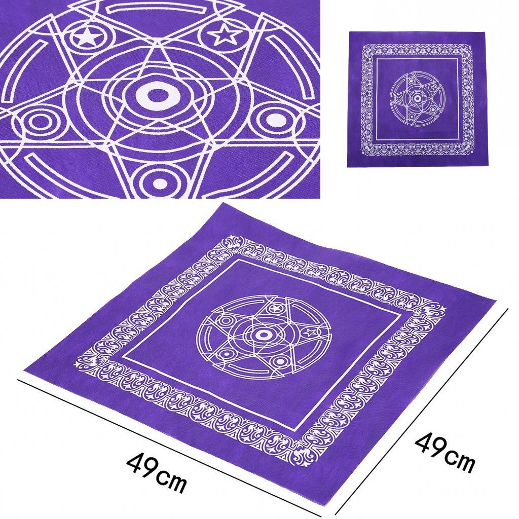2019 New 49x49cm Non-woven Board Game Textiles Tarot Table Cover Playing Cards Purple Pentacle Tarot Game Tablecloth
