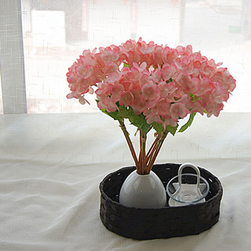 1 Bouquet Wedding Bridal Party Home Decor Artificial Flower Hydrangea Silk Flowers Leaf For Home Bridal