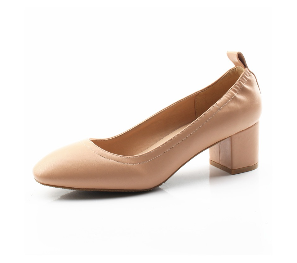 Shoes Women Genuine Leather Fashion Office and Career Rounded Toe 2-inch Block Heel Fashion Office Lady Pumps Size 34-41, K-307 40