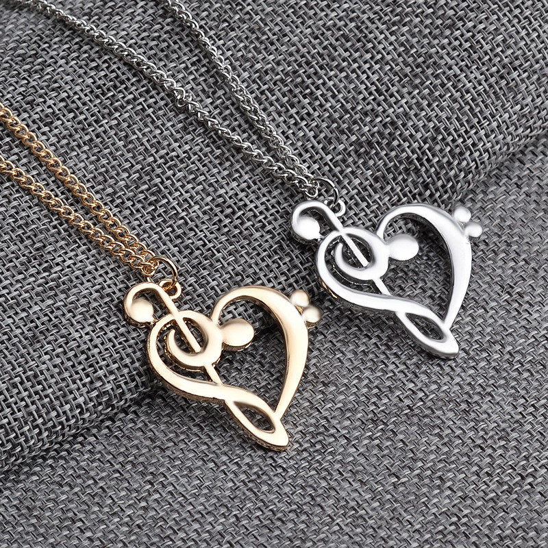 Treble Love music note black heart gold jewelry pendant resin necklace unique glitter stylish charm gift easter