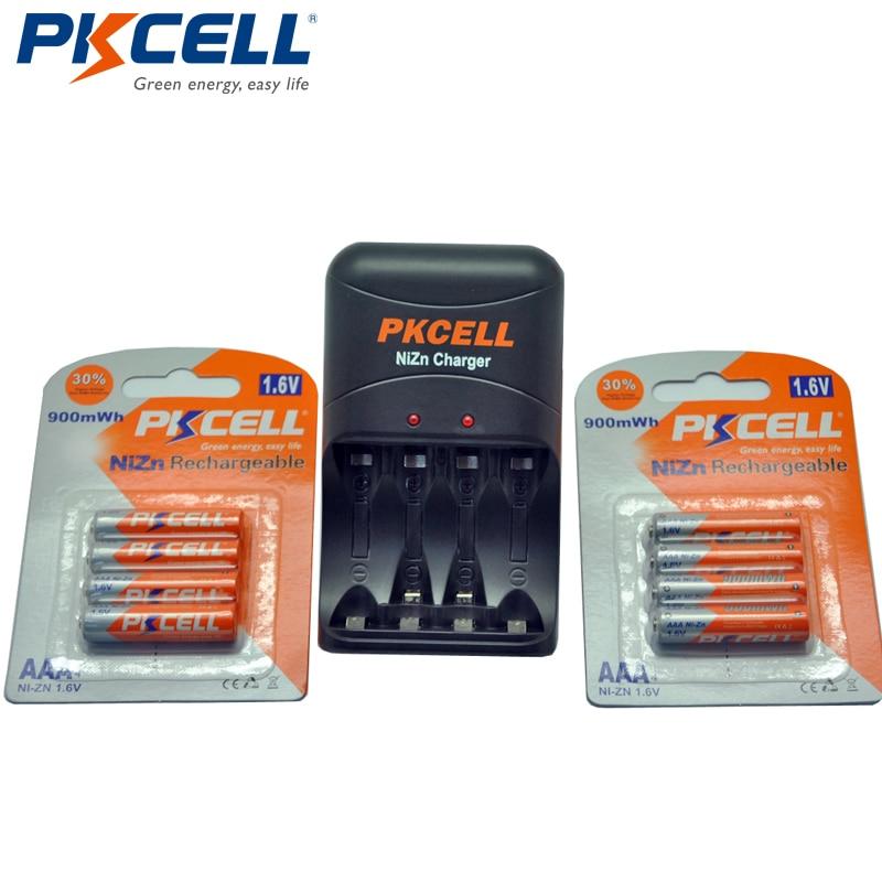 8 Pces Pkcell Nizn 1.6 V Aaa 900mwh Ni-zn Bateria Recarregável 3a Bateria Baterias + Nizn Aa/aaa Carregador De Bateria