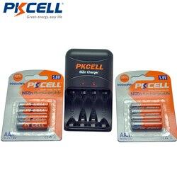 8 piezas PKCELL NIZN 1,6 V AAA 900mWh Ni-ZN batería recargable 3A Bateria Baterias + NiZn AA/ AAA cargador de batería