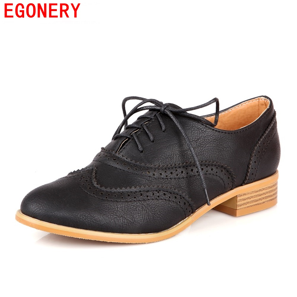 EGONERY Spring Air Casual Round Toe Lace Up Vintage Brogue Cut out Ankle Lady Shoes Women