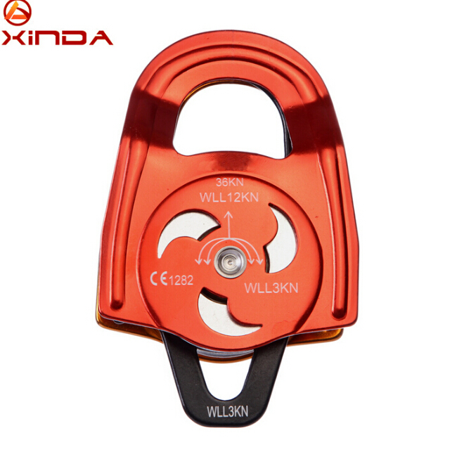 XINDA 36KN Aluminum-magnesium Alloy Double Pulley Ball Bearings For Mountaineering Rock Climbing Abseiling xinda professional handle pulley roller gear outdoor rock climbing tyrolean traverse crossing weight carriage device