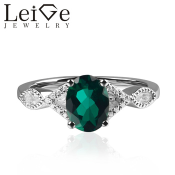 925 Silver Lab Emerald Ring Oval Cut Prong Setting Green Gemstone Promise Wedding Rings for Women May Birthstone