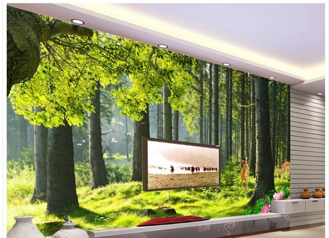 Wall Mural Photo Wallpaper Custom 3d Photo Wallpaper 3d Wall Murals  Wallpaper Forest Trees Landscape Home Part 24