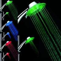 ABS Bad Farbe Veränderbar Wasser Leuchten Bunte LED Duschkopf Mit Temperatursensor Silber Kostenloser Versand NG4S