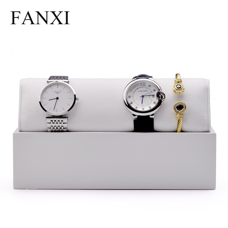 FANXI  New Solid Wood Watch Display Stand  Bracelet Bangle Holder with Microfiber insert Jewelry Organizer  Showcase