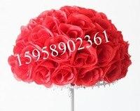 EMS Livraison gratuite-Rouge mariage baisers de soie rose fleur boule artificielle fleurs decoration-30cm 12 pouce 15 pcs/lot