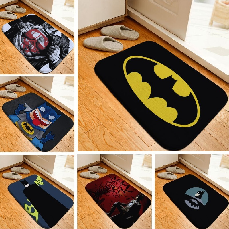 Bath Mat Hero Batman Printed Rug Toilet Carpet Flannel Non Slip Bath Mat  Absorbent Bathroom Mat Floor Mat 40x60cm Custom