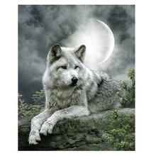 5D поделки алмазов картина Луна волк крестиком Наборы 40 см * 50 см полный дрель смолы Алмазная вышивка алмазная мозаика рукоделие