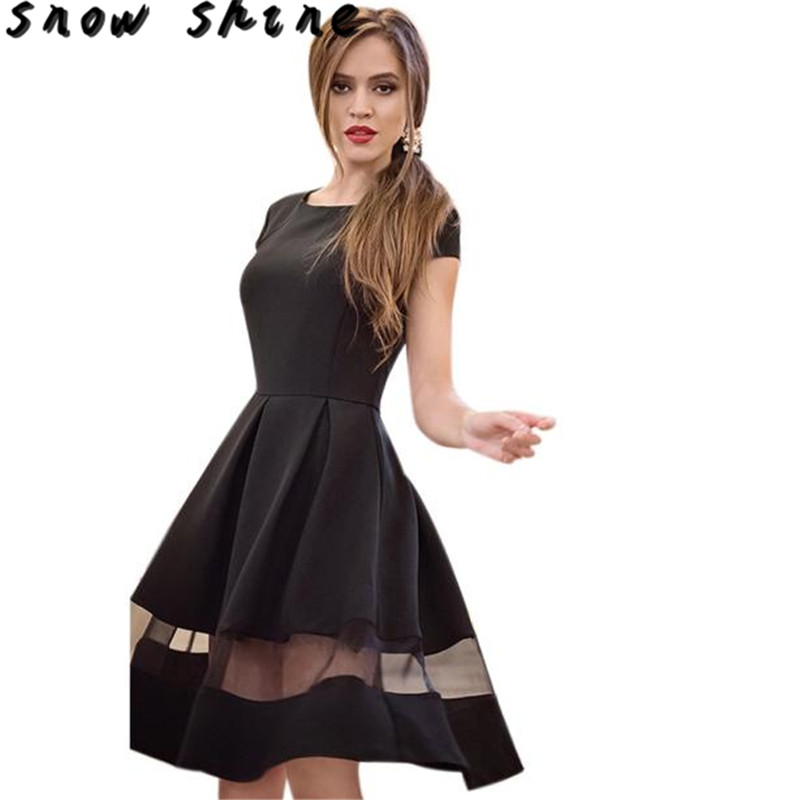snowshine YLI Women Fashion Knee-length Casual O-neck A-line Short Sleeve Chiffon Dress free shipping