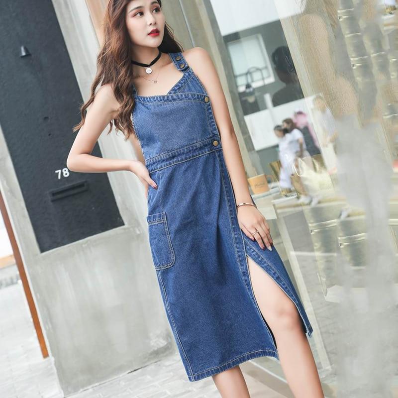 258ec51a7c2 Longues Élégante Denim De Casual Cowboy Jeans Printemps Avant Bleu Haute  Femmes Qualité Automne Robes Vêtements Robe Split Mince ESWBxzPq04