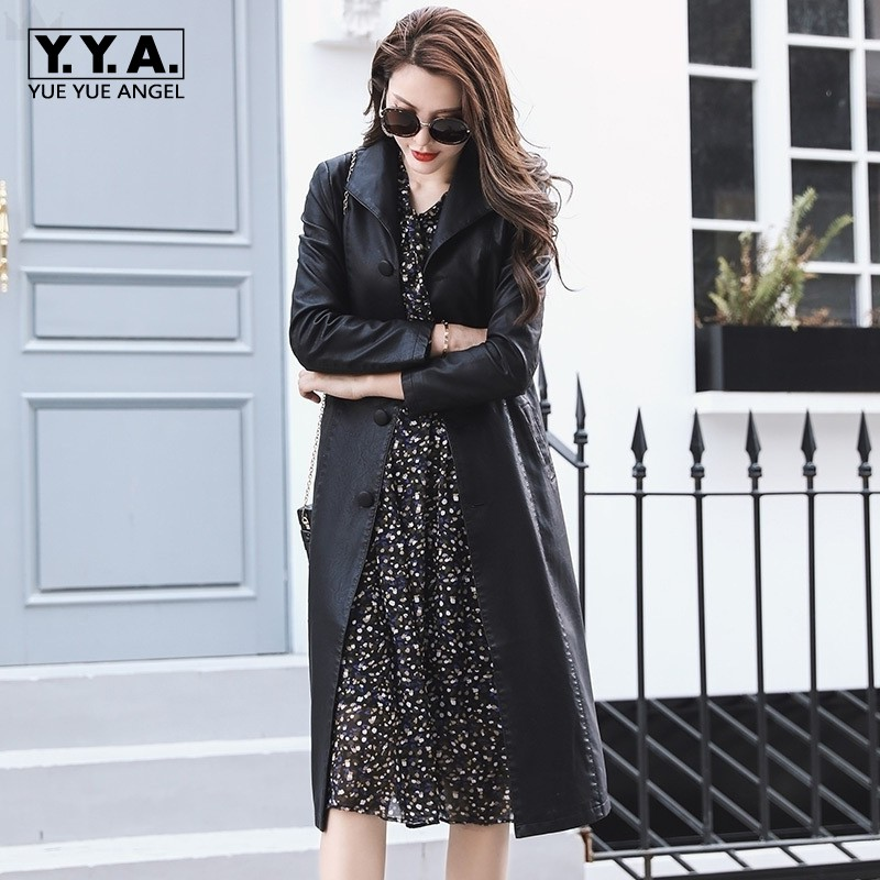 High Quality Winter Windbreaker Faux   Leather   Female Jacket Slim Fit Belted Womens Overcoats Motorcycle Coat Large Size M-4XL