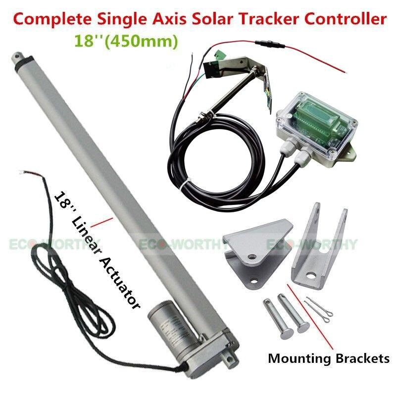 USA Stock nouveau système de suivi solaire 1KW-actionneur linéaire à axe unique Kit complet de suivi de la lumière du soleil