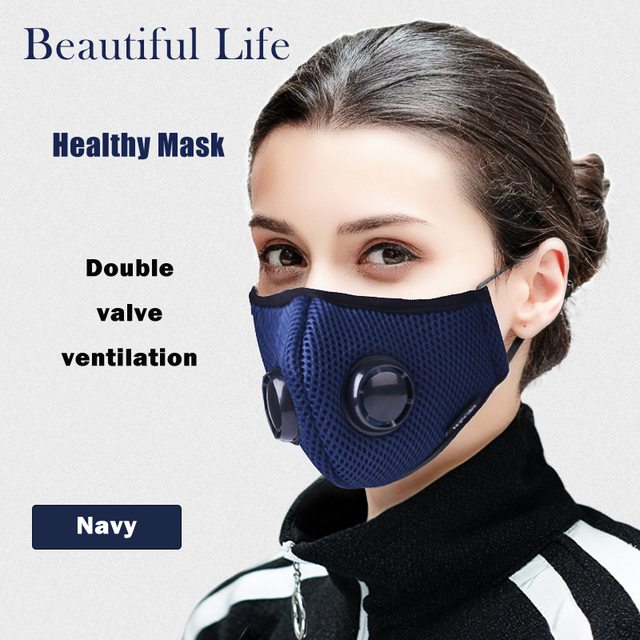 Activated Carbon Dustproof Mask, Anti Haze Face Mask Anti Pollen Allergy PM2.5 Dust Mask with Filter Cotton Sheet and Valves 3