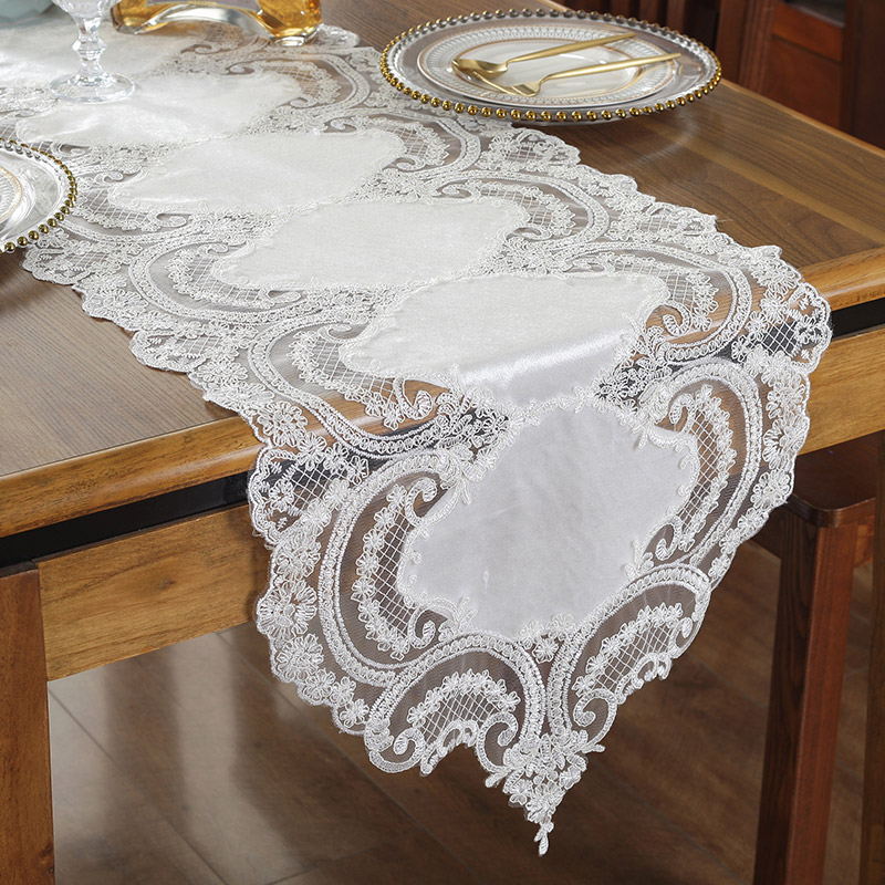 Proud Rose Luxury Lace Table Runner Tablecloth TV Cabinet Cover Cloth Embroidered Coffee Table Flag Wedding Decor