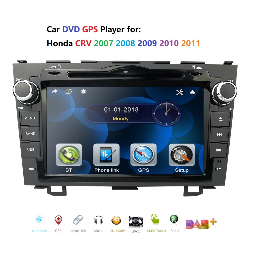 for HONDA CRV 2007 2011 GPS Navigation 8 2 din car monitor Bluetooth RDS Radio Steering Wheel Control USB Subwoofer AUX CAM IN