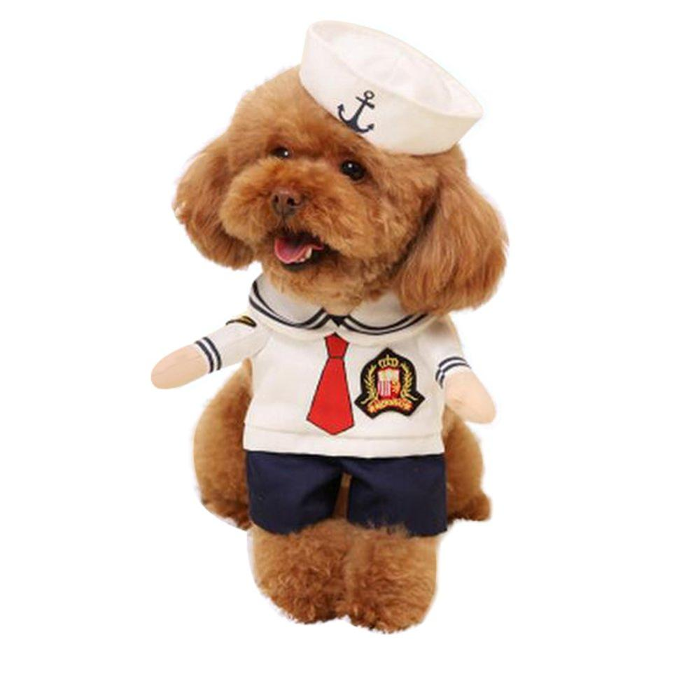 NACOCO Dog Sailor Costumes Navy Suit with Hat Halloween Christmas Pet for Puppy and Cat