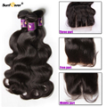 7A Malaysian Virgin Hair With Closure Malaysian Body Wave 3pcs Hair Bundles With 1 Lace Closure 3/Free/Middle Part Hair Weave