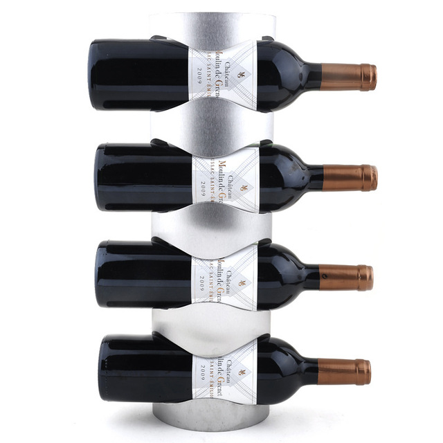 1pc 4 Bottle Wall Mounted Wine Rack Creative Fashion Storage Holder Metal Liquor Cabinet The Bar Decoration Kj 3002