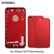 Red Back Housing Battery Cover Rear Door Case For Apple iPhone 7G 7 Plus battery case Middle Frame Assembly Cover+Button