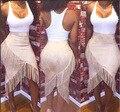 Платья облегающее, женщины сексуальный 2 штук вечернее Клубная одежда Vestidos бандажное клуб с TESSEL