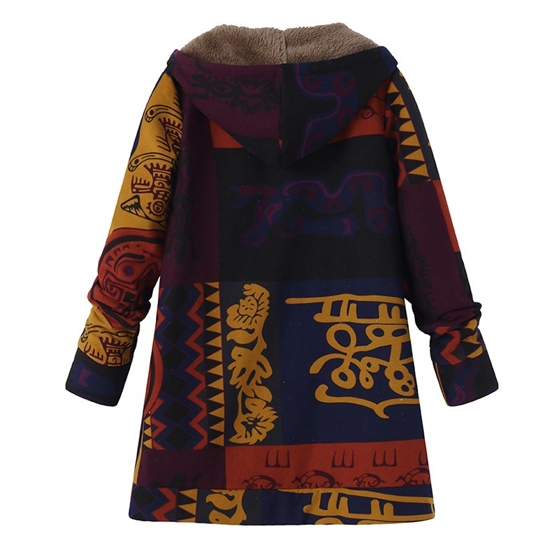 ZANZEA 2018 Casual Fashion Winter Hooded Long Sleeve Fluffy Warm Coat Women Plus Size L 5XL Retro Ethnic Printed Fur Outerwear 5