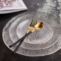 Household Glass Plate With Gold Edge Nordic Style Fruit Salad Tray Fringe Pattern Steak Buffet Dish Dessert Sushi Plate 1pcs