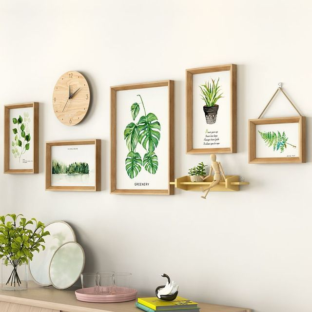 Green Plant Painting Photo Frame Combination 5 Pieces Hanging Wall Decoration Modern Style Picture Frames For Sofa Background
