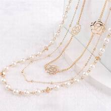 Classic Multi-layer Simulated Pearl Chain Long Necklace Women Bijoux Luxury Flower Fashion Jewelry Fine Gifts Wholesale joolim high quality long simulated pearl tassel maxi necklace multi layered necklace statement jewelry wholesale