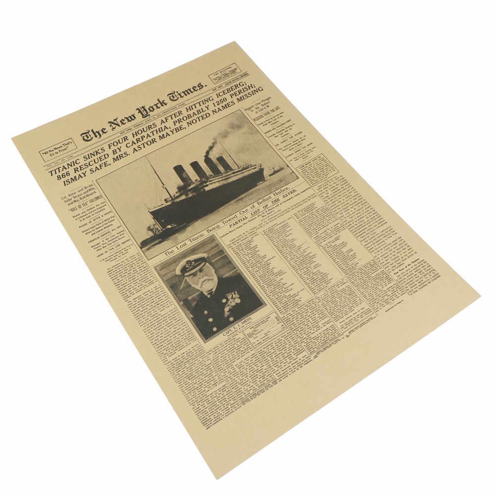 رائجة البيع في نيويورك تايمز التاريخ ملصق تايتانك سفينة حطام صحيفة قديمة ريترو كرافت ورقة ديكور المنزل الجدار ملصق