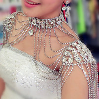 Vintage Bridal Rhinestone crystal ketting Schouder shawl harness Ketting luxe Wedding Party Body Sieraden accessoire