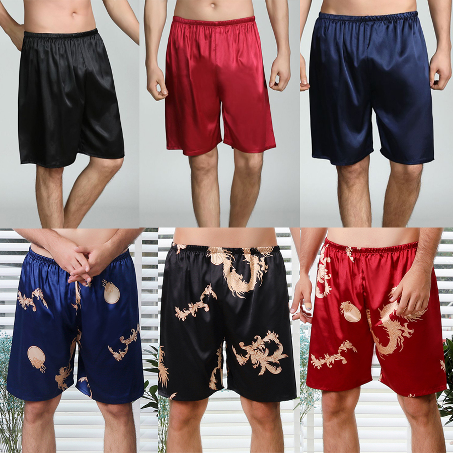 New Spinning Silk Pajama Pants Men's Spring And Summer Casual Home Silk Shorts Casual Pants Short Pants Pijama Men Lounge Pants