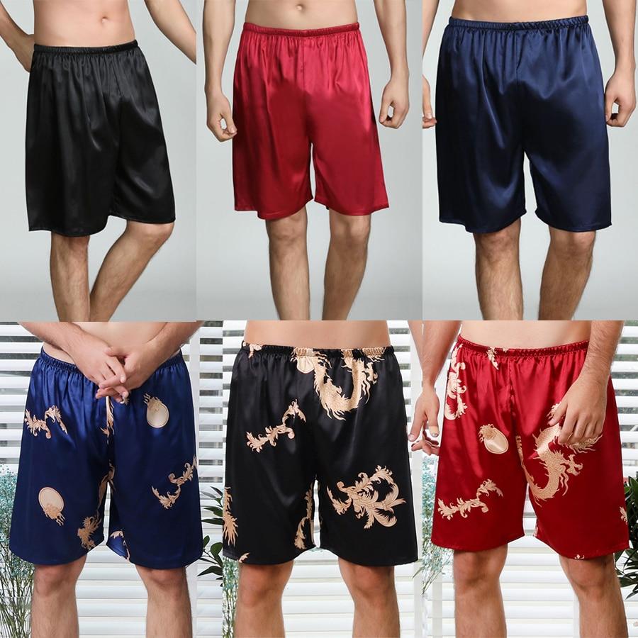 New Spinning Silk Pajama Pants Men's Spring And Summer Casual Home Silk Shorts Casual Pants Short Pants Pijama Men Lounge Pants